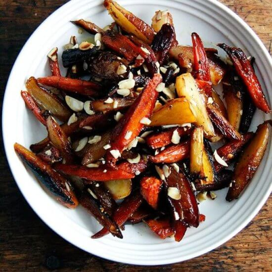 Twice-Roasted Carrots with Honey and Almonds