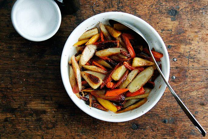 Roasted carrots seasoned with salt and pepper.