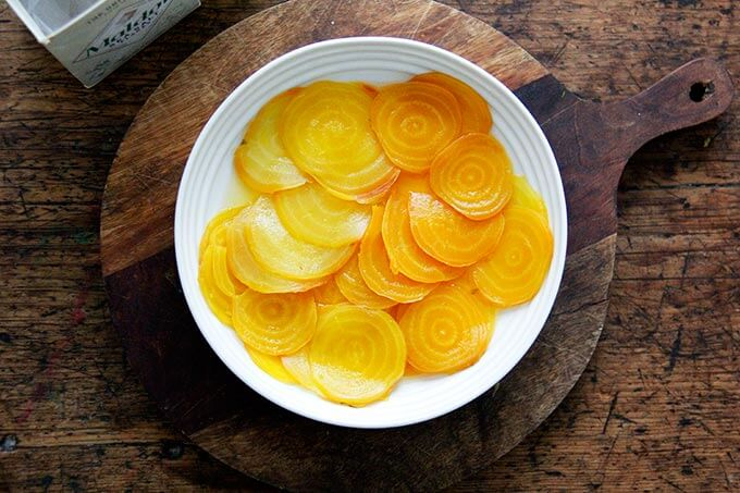 Salt and vinegar beets in a bowl.