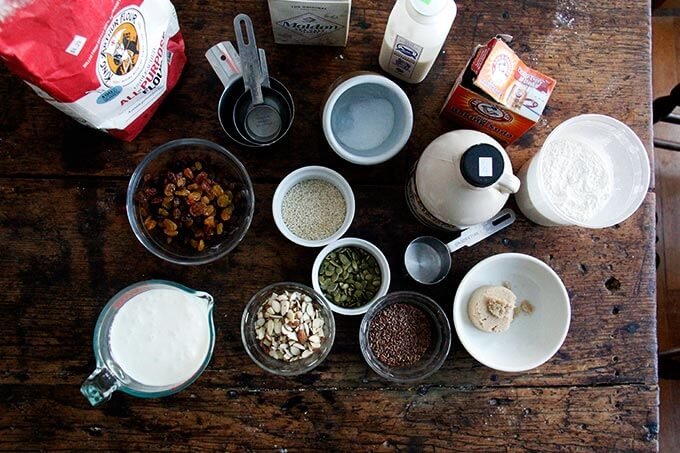 Ingredients for three-seed crackers on a table.