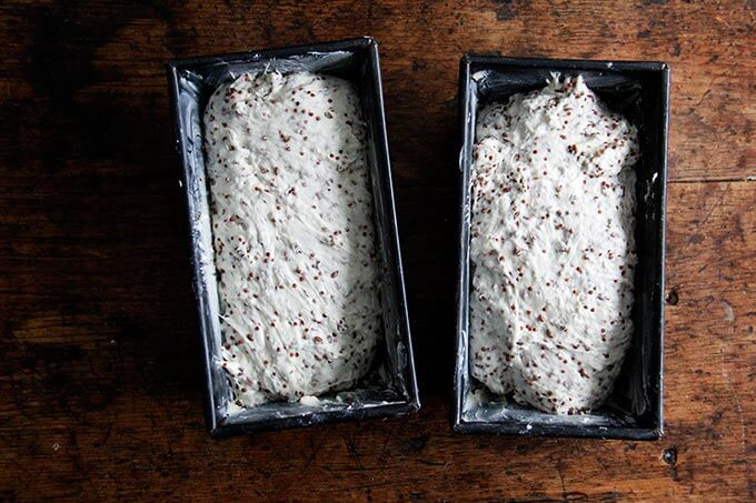 Quinoa-flax dough in loaf pans.