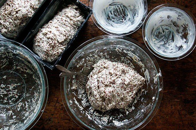 quinoa-flax dough in pyrex bowls