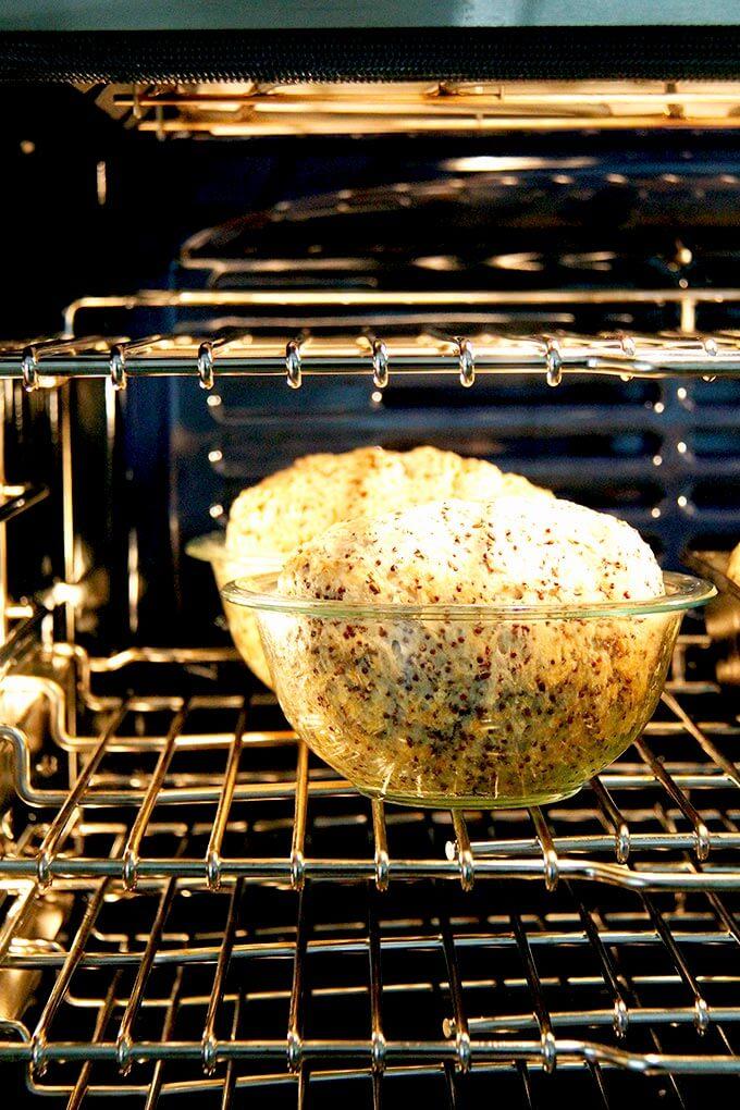 quinoa-flax bread in bowl baking in oven