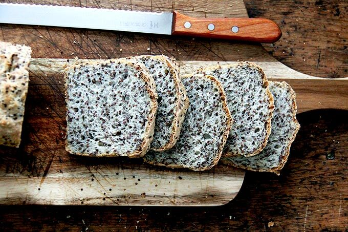 Sliced loaf of quinoa-flax bread.