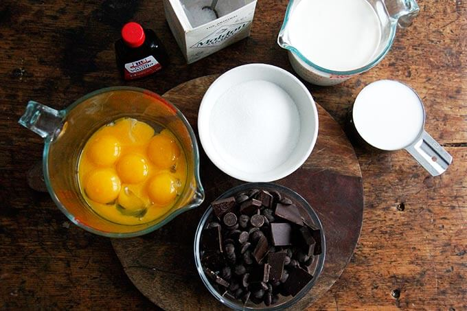 Ingredients for making stovetop pots de creme on a table.