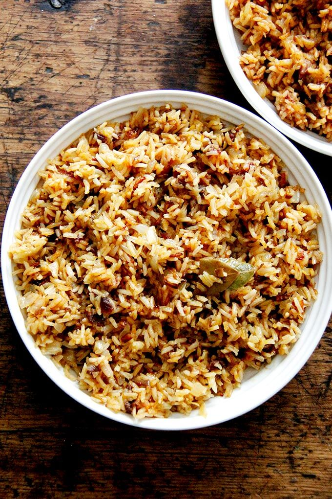 A bowl of Moroccan Rice with dates and harissa.