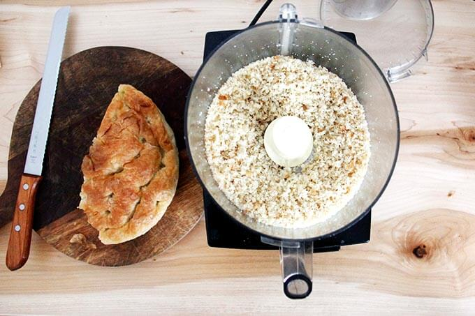 Whizzed bread into bread crumbs in a food processor.