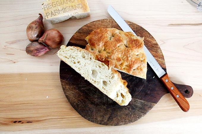 Days-old focaccia on a board.