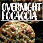 An overhead shot of freshly baked overnight, refrigerator focaccia.