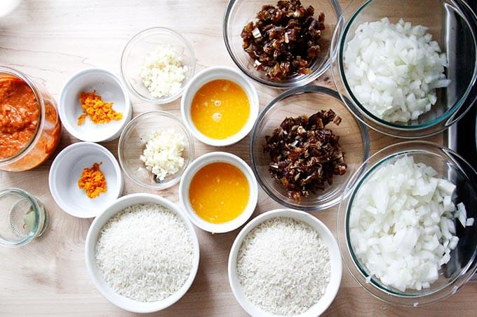 Ingredients for Moroccan rice.