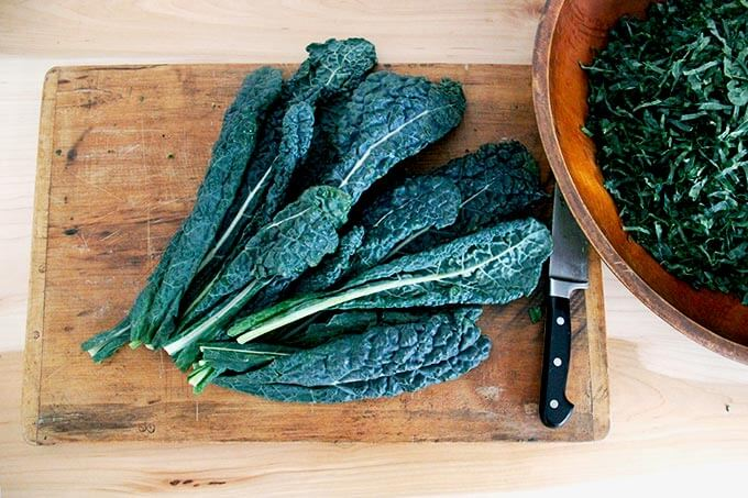 Tuscan Kale on a board.