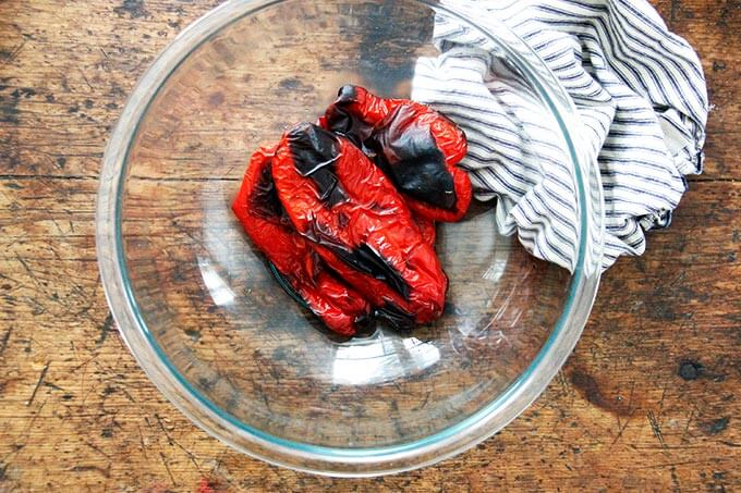 A bowl of roasted red peppers.