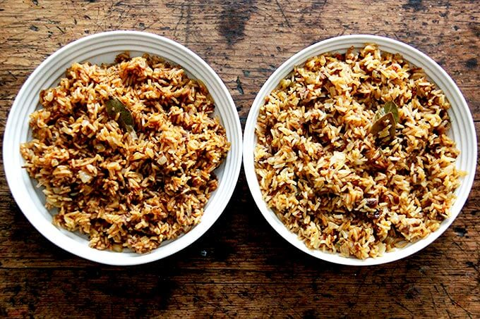 Two bowls of Moroccan rice, side by side.