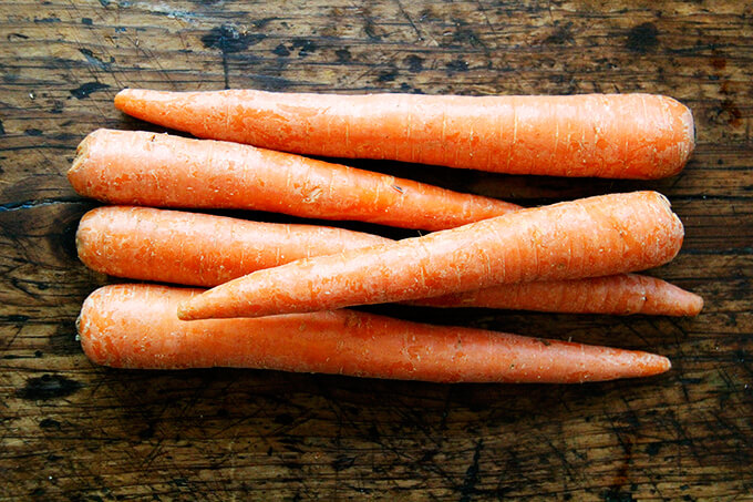 Carrots on a board.