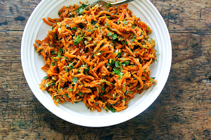 A bowl of Moroccan carrot salad.