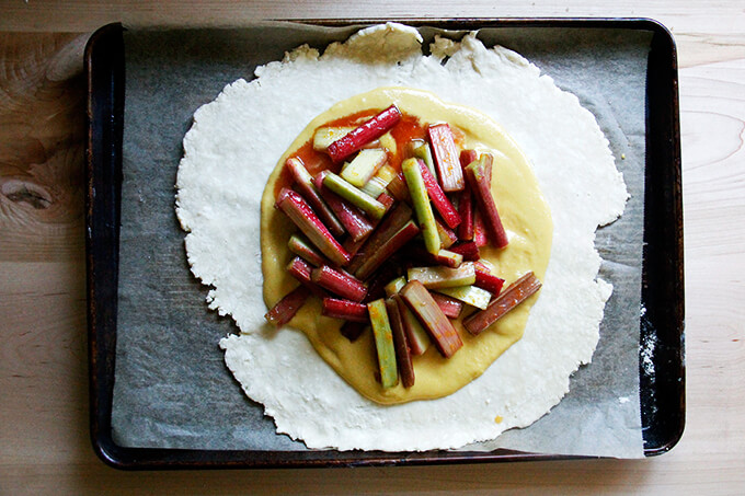Frangipane topped with sugared rhubarb.