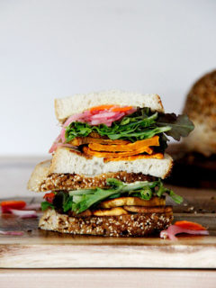 The 44 Special: a sweet potato sandwich with homemade bread and pickled onions.