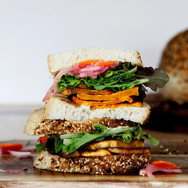 The 44 Special: A Dreamy Roasted Sweet Potato and Pickled Beet Sandwich with Aioli and Goat Cheese