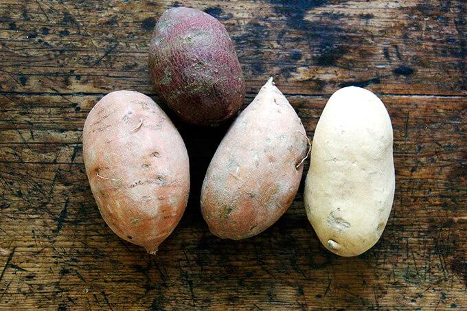 A board of sweet potatoes.
