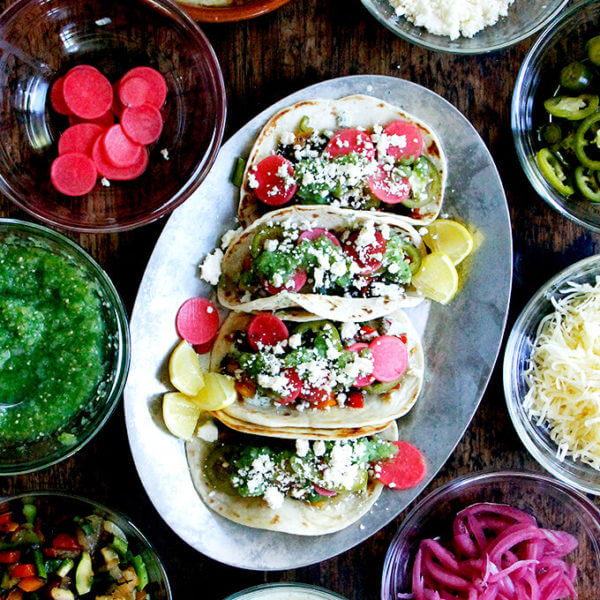"""Dry""-Grilled Vegetable Tacos with Tomatillo Salsa & Cilantro-Lime Crema"