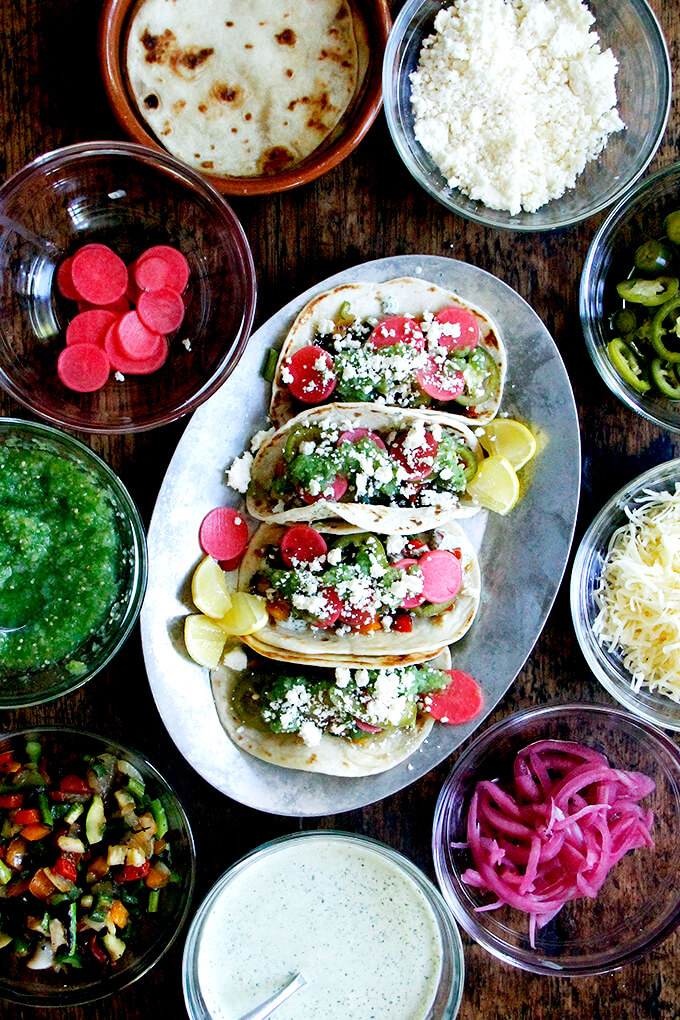 """""""Dry""""-Grilled Vegetable Tacos with Tomatillo Salsa & Cilantro-Lime Crema"""