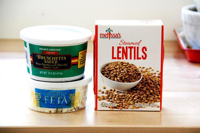 The ingredients to make Trader Joe's lentil salad.