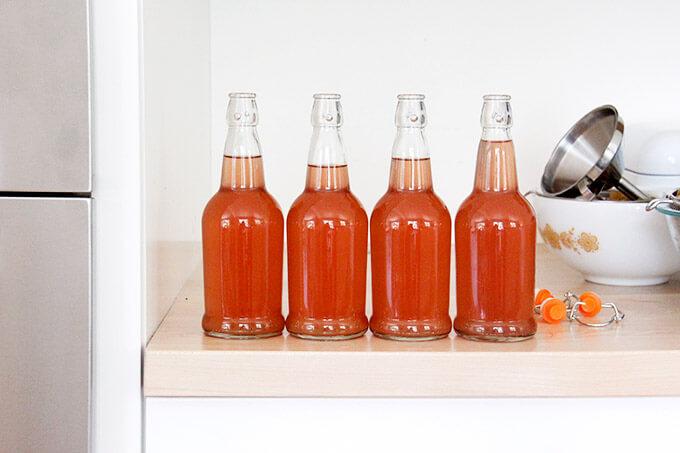 Four jars of rhubarb schnapps.