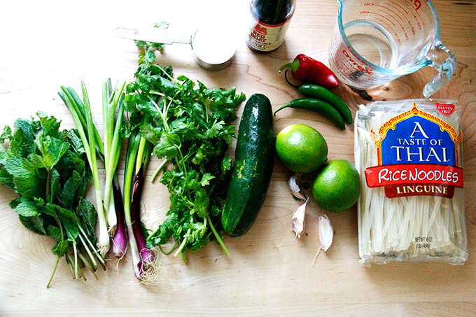 Ingredients to make rice noodles with nuoc cham.