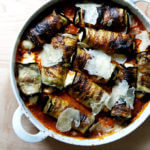 A pan of just-baked eggplant involtini.