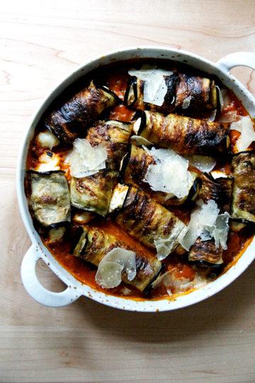 Pressure Cooker Tomato-Basil Sauce + Eggplant Involtini (Again)