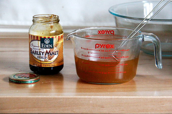 A jar of barley malt syrup.