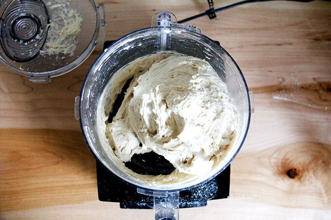 Bagel dough in food processor.