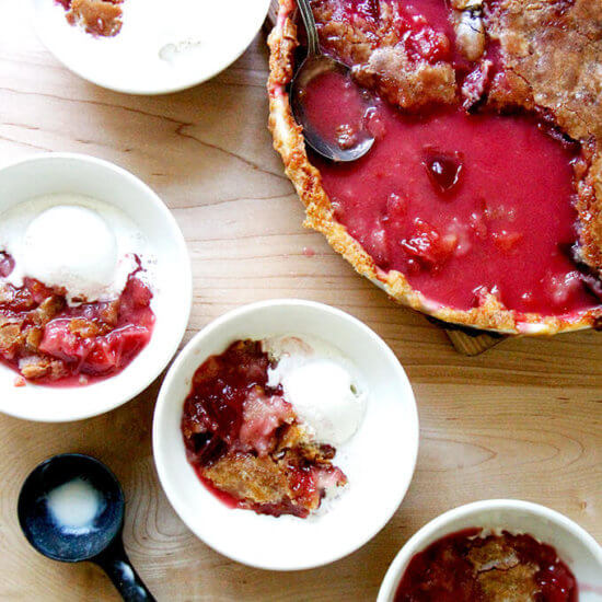 Peach (or Pluot) Cobbler with Hot Sugar Crust