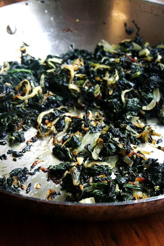 Slow-cooked kale with onions.