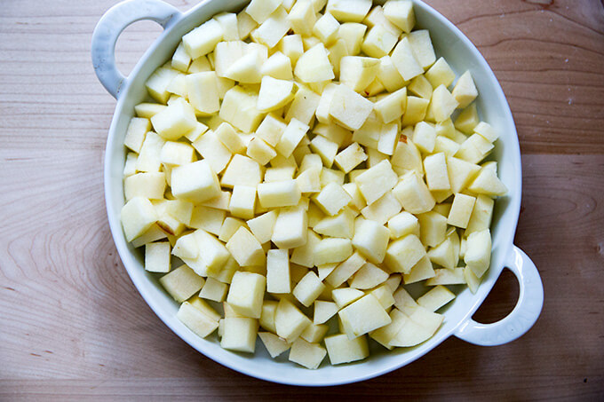 a pan of diced apples