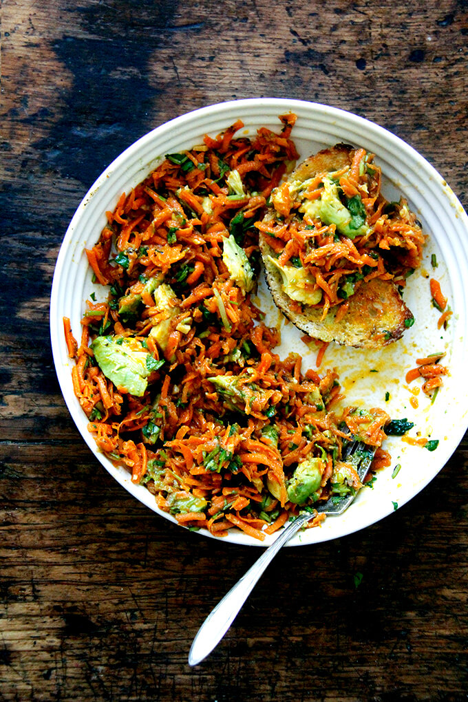 Moroccan carrot salad with harissa and avocado.
