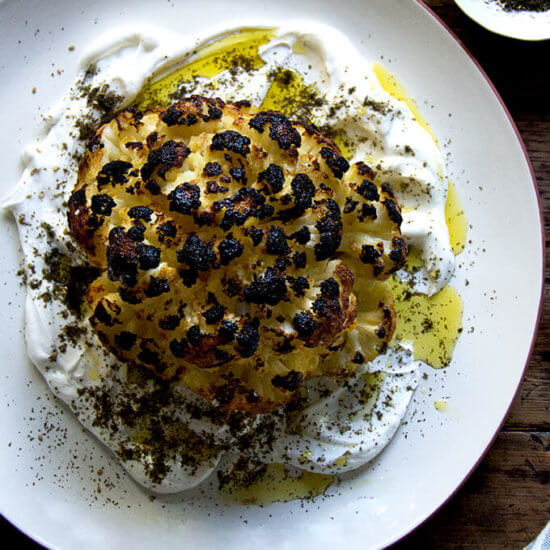 Whole Roasted Cauliflower with Lemony Yogurt Sauce