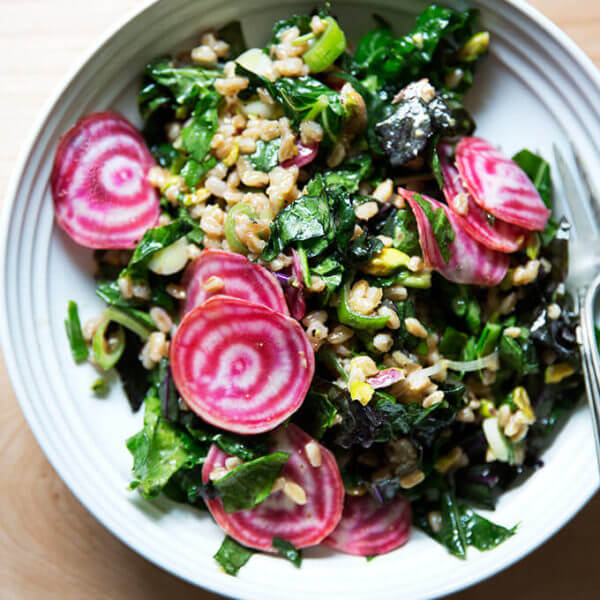 Charlie Bird Farro Salad with Beets, Scallions & Pistachios