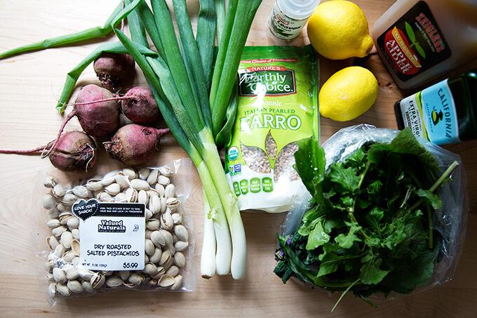 Ingredients to make Charlie Bird farro salad.