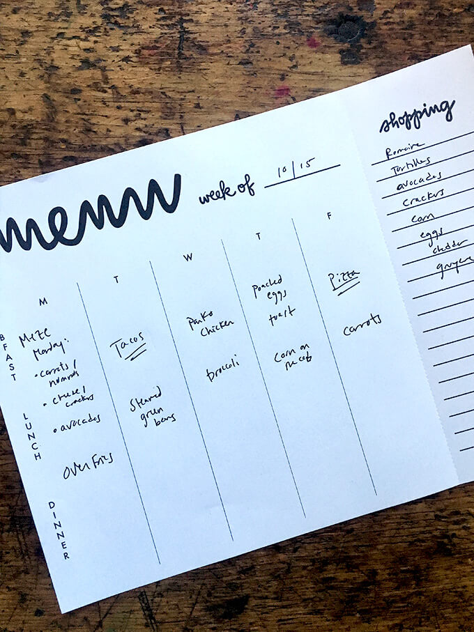 A meal planning sheet with meals for the week mapped out.