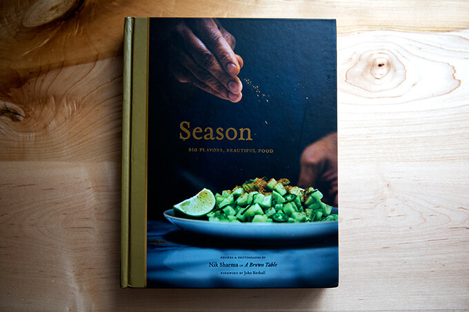 Nik Sharma's Season cookbook: not a traditional Indian cookbook but a collection of recipes influenced by an upbringing in Bombay and an acclimation to America from the perspective of a gay immigrant.
