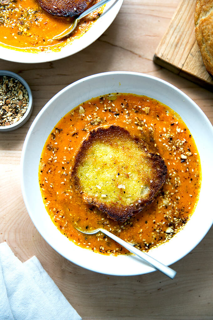 Saffron and Carrot Soup with Olive Oil Toasted Bread and Toasted Almond Dukkah —Yum.