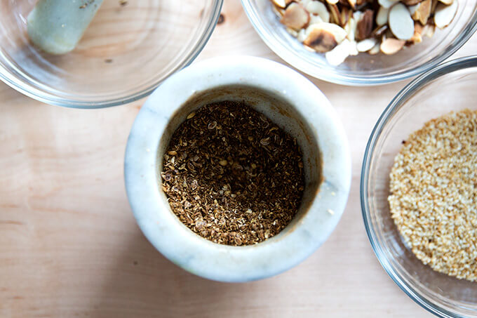 Toasted and crushed cumin and coriander.