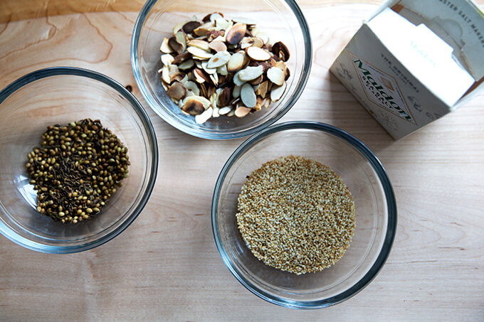 Toasted Almond Dukkah Ingredients.