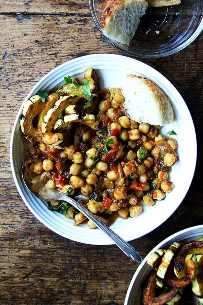 A bowl of chickpea tagine with tomato jam.