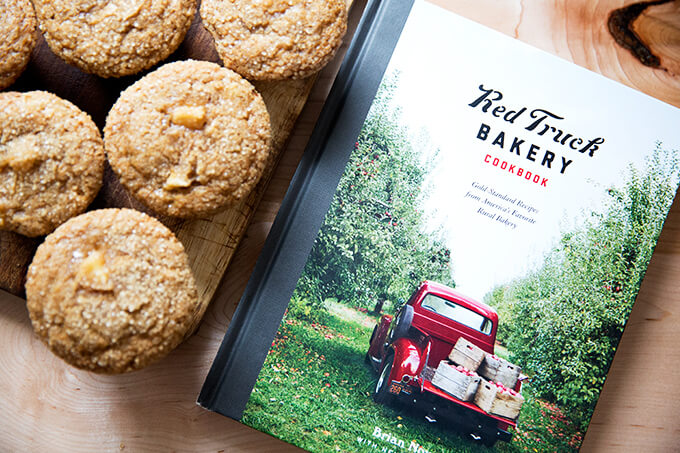 The Red Truck Bakery cookbook with apple orchard muffins with turbinado sugar crust.