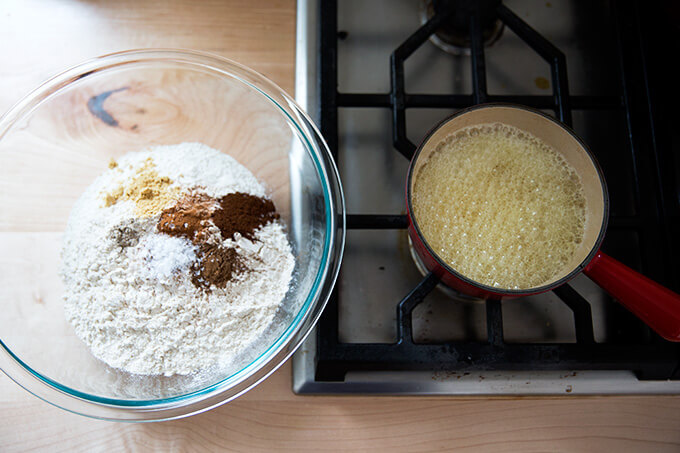 brown butter and dry ingredients for spiced brown butter holiday cookies
