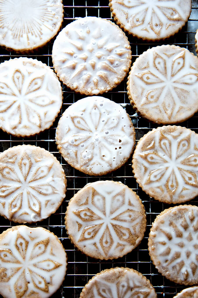 Stamped spiced brown butter muscovado cookies with maple glaze — these holiday cookies are both delicious and beautiful.