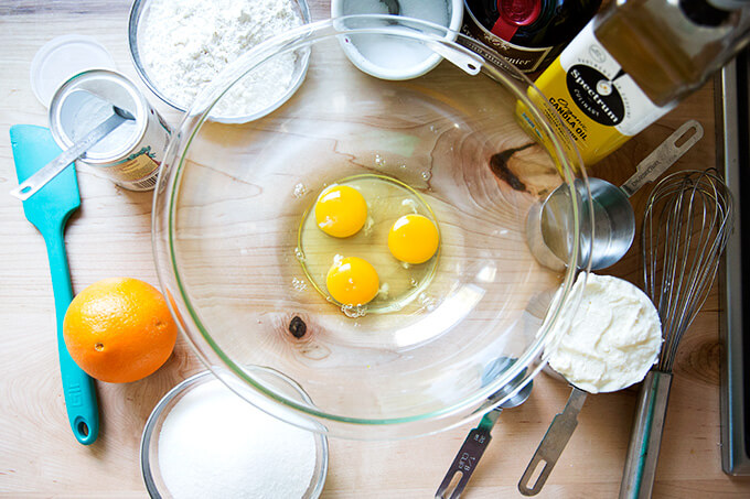 Orange-ricotta pound cake ingredients