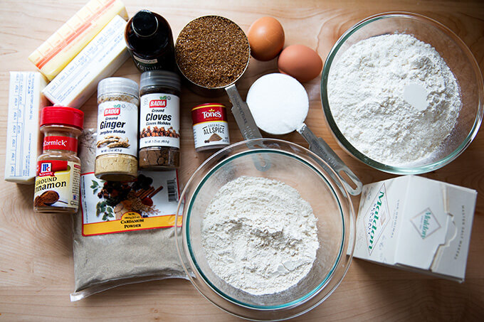 Ingredients for Stamped spiced brown butter muscovado cookies with maple glaze